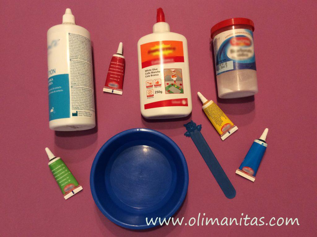materiales que vamos a necesitar para hacer el slime