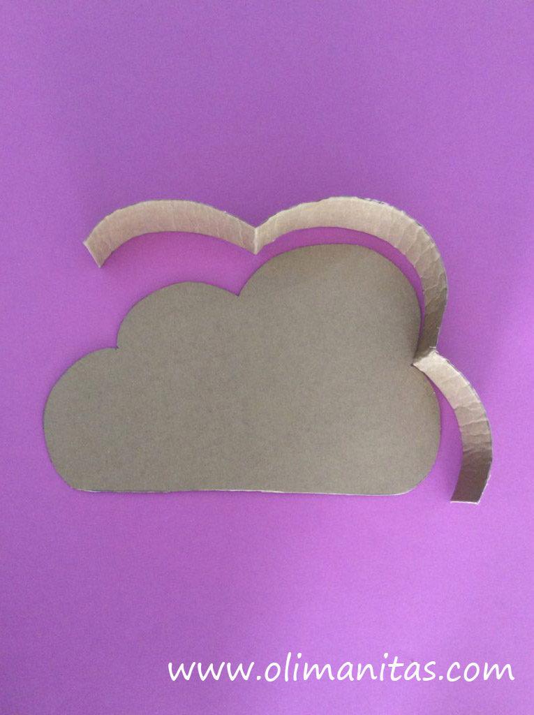 Le damos la forma del contorno de la nube a las tiras de cartón