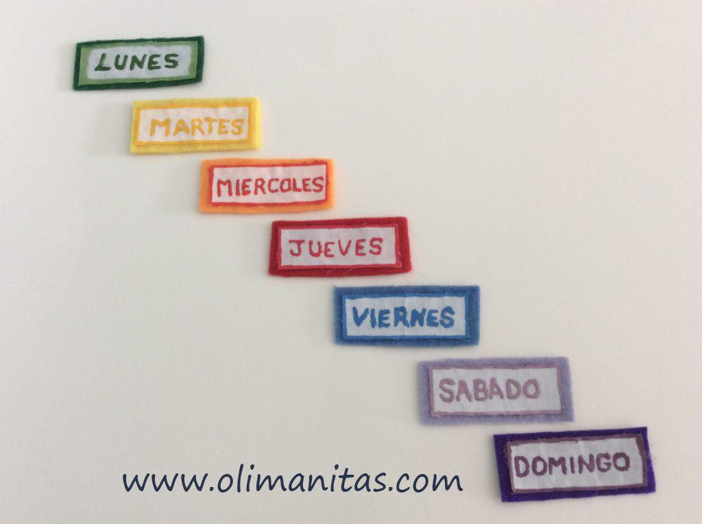 Pintamos los nombres de los días de la semana.