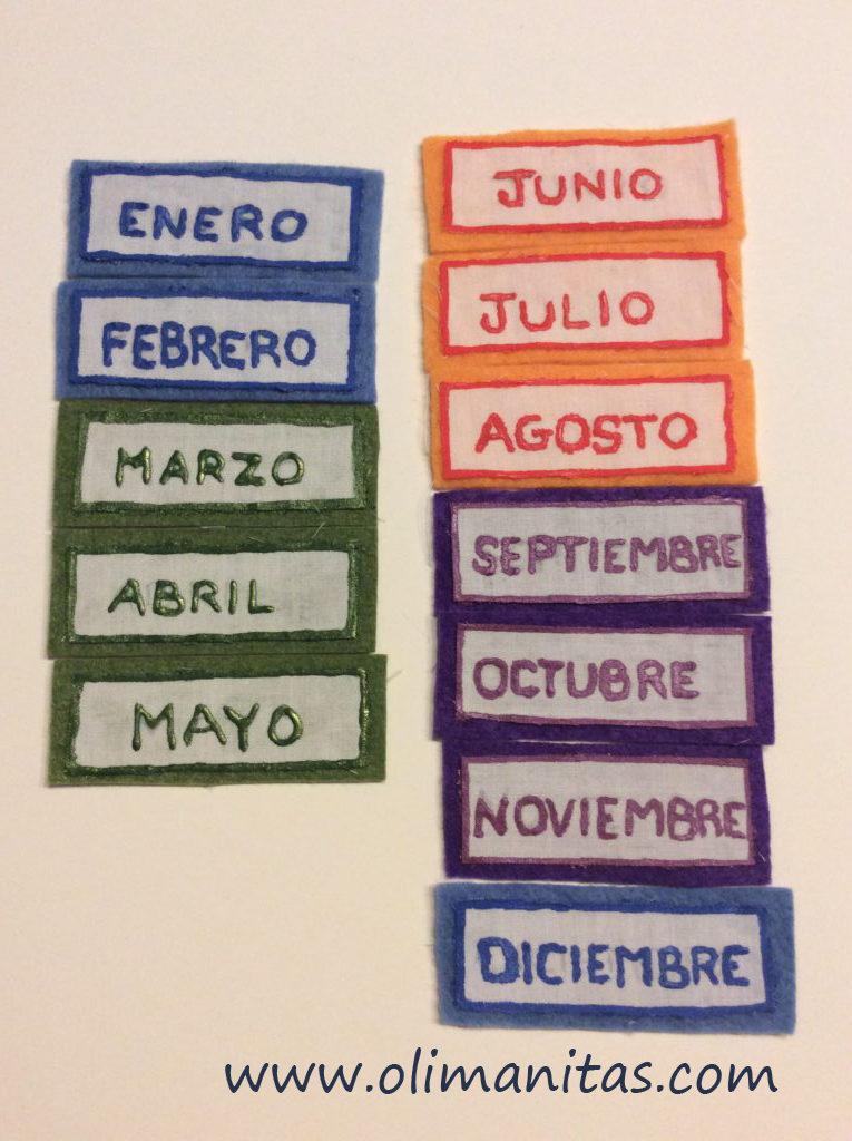 Ahora pintamos los nombres de los meses del año.