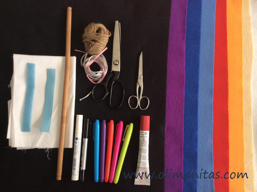 Materiales para hacer un calendario infantil de fieltro