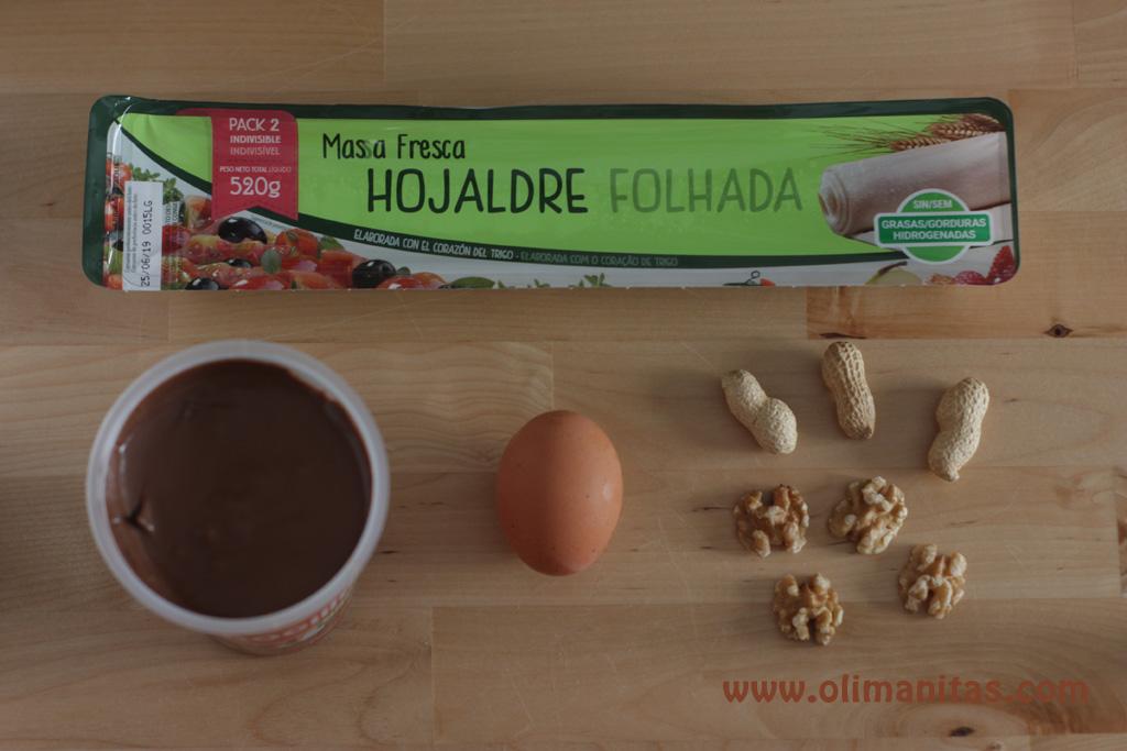 Ingredientes necesarios para hacer una trenza de hojaldre y chocolate