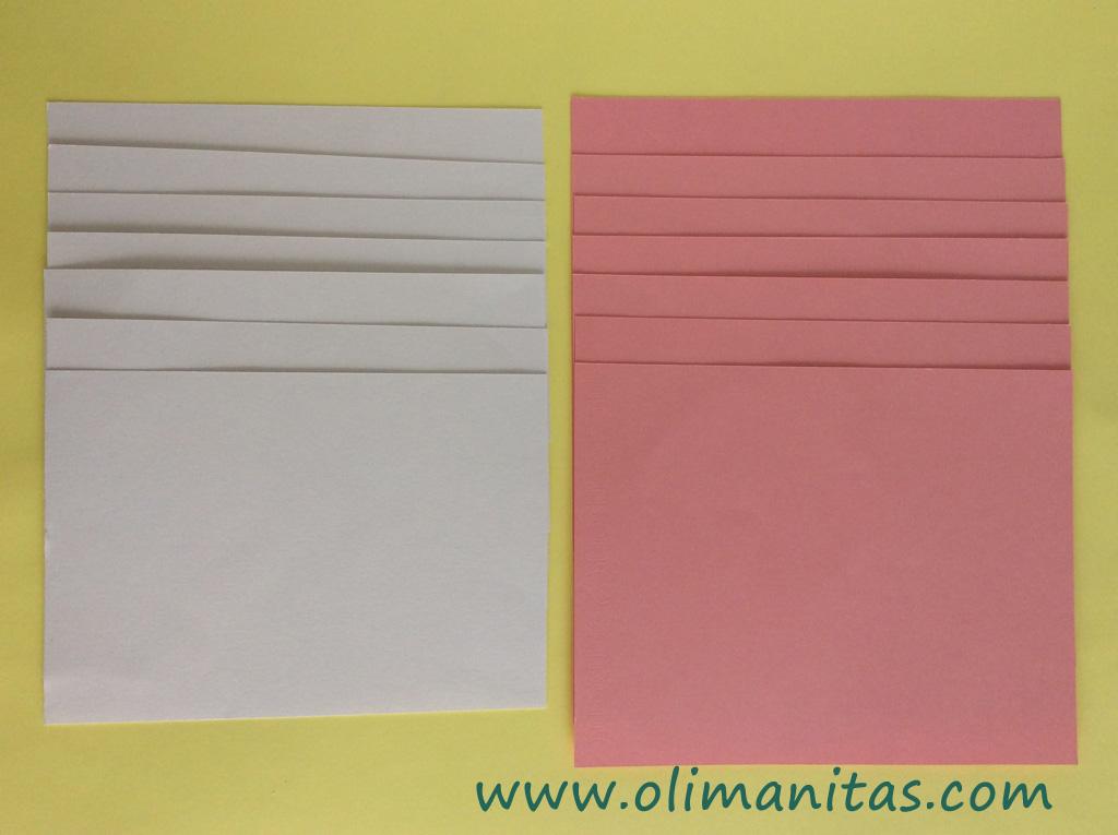 Recortamos siete rectángulos de cartulina en rosa y otros siete en blanco. Los blancos mas pequeños que los rosas.
