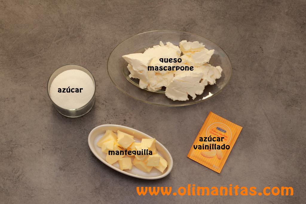 Ingredientes necesarios para la cobertura de queso o frosting
