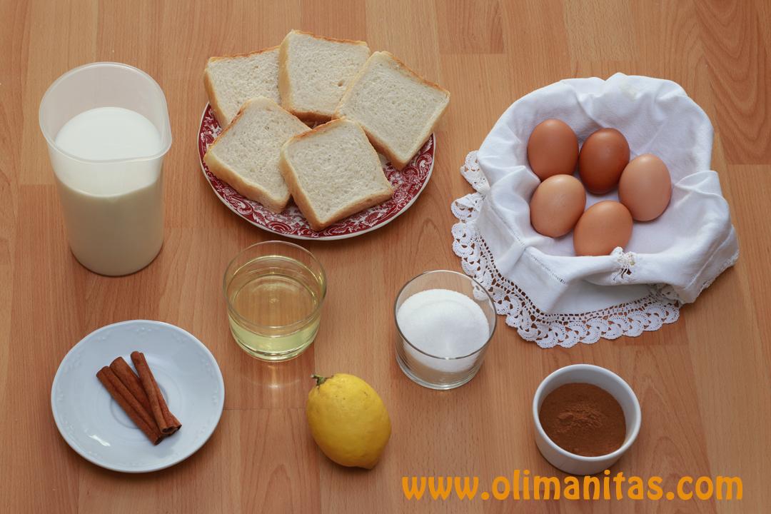 Ingredientes necesarios para hacer torrijas de leche