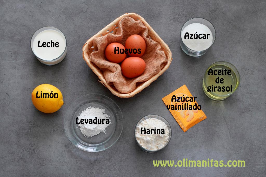 Ingredientes necesarios para hacer un bizcocho de limón sin yogurt suave y esponjoso