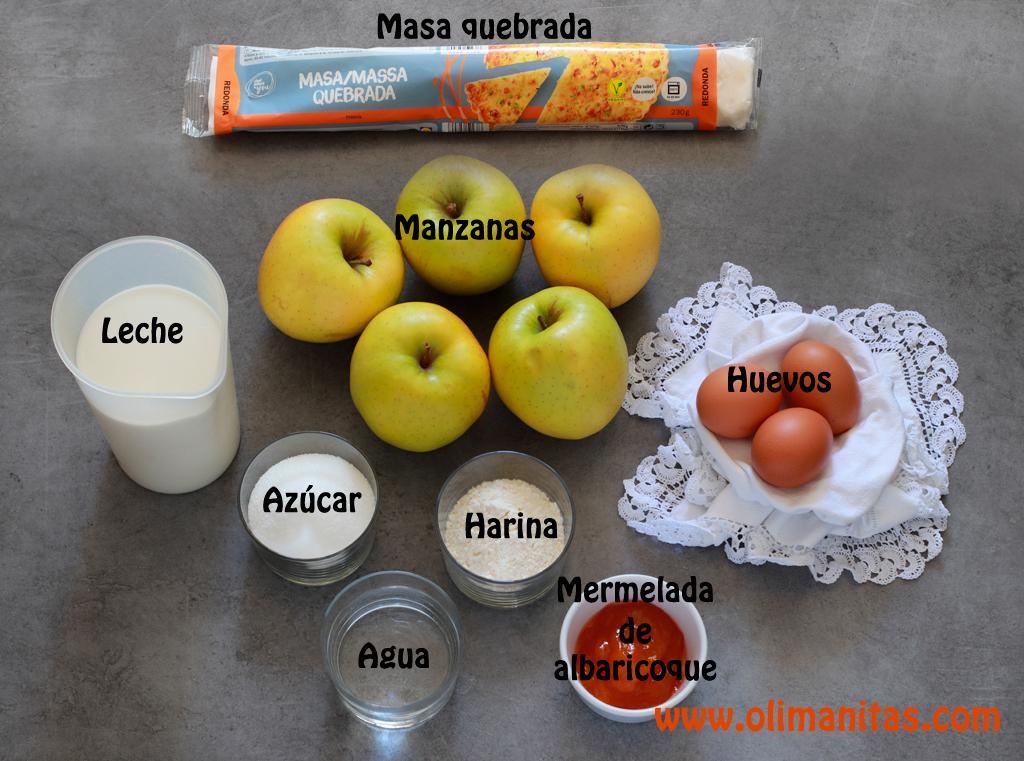 Ingredientes necesarios para hacer una tarta de manzana fácil y rápida.