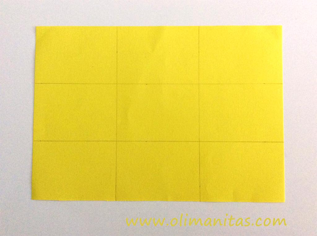 Dividimos el tablero del juego tres en raya en 9 cuadrados iguales